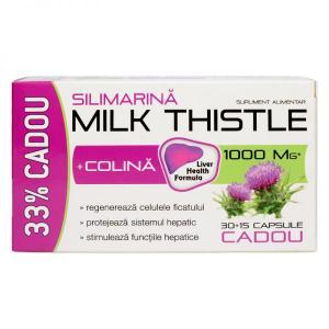 Milk Thistle + Colina 30 +15 cps Cadou Zdrovit